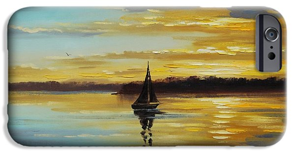 Sailboat Ocean iPhone Cases - Golden Sunset iPhone Case by Graham Gercken