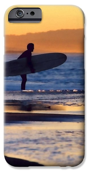 Surf Silhouette iPhone Cases - Golden Surfer iPhone Case by Art Block Collections