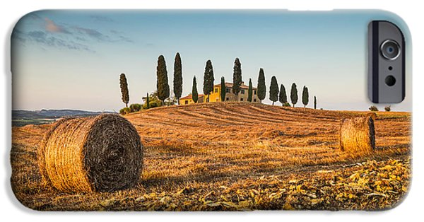 Tuscan Road iPhone Cases - Golden Tuscany 2.0 iPhone Case by JR Photography
