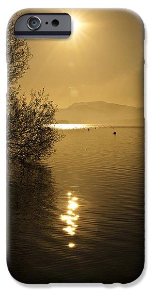 Evening iPhone Cases - Golden Ullswater Evening iPhone Case by Meirion Matthias