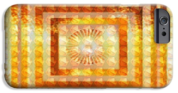 Diy iPhone Cases - Golden Vintage Style Chakra Cosmic Tunnel Flowing Healing Energy Textures Patterns Background Design iPhone Case by Navin Joshi