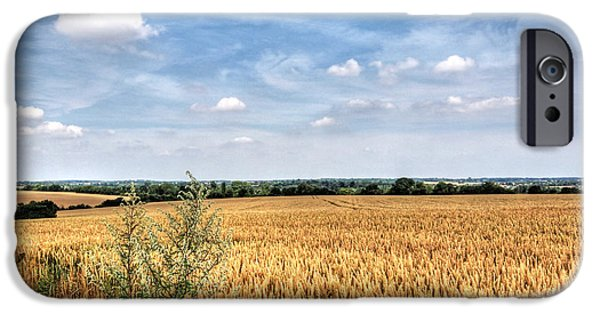 Interior Scene iPhone Cases - Golden Wheat Fields iPhone Case by Gill Billington