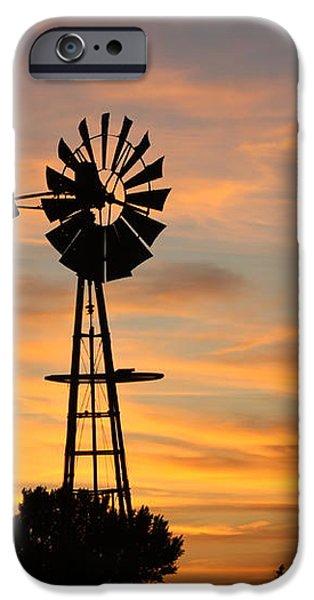 Golden Windmill Silhouette iPhone Case by Robert D  Brozek
