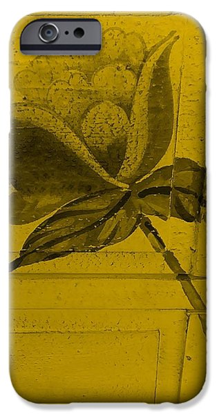 Botanic Illustration Digital Art iPhone Cases - Golden Wood Flower iPhone Case by Rob Hans