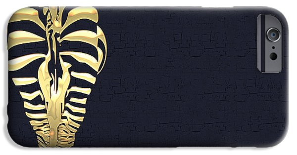 Miracle iPhone Cases - Golden Zebra on Charcoal Black iPhone Case by Serge Averbukh