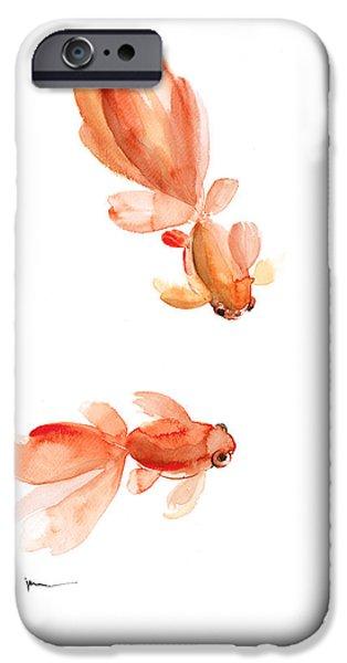 Goldfish Mixed Media iPhone Cases - Goldfish art print watercolor painting iPhone Case by Joanna Szmerdt