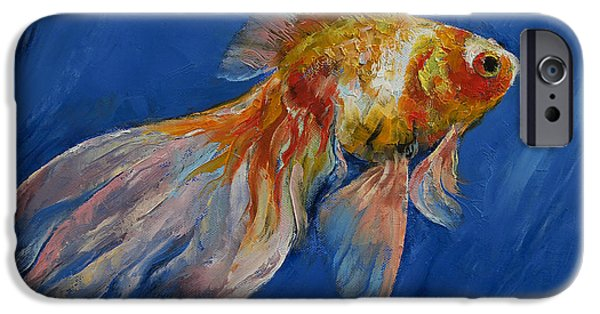 Michael Paintings iPhone Cases - Goldfish iPhone Case by Michael Creese