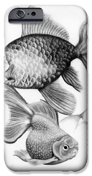 Animal Drawings iPhone Cases - Goldfish iPhone Case by Sarah Batalka