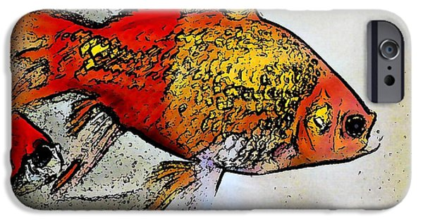 Business Digital Art iPhone Cases - Goldfish iPhone Case by Sarah Loft