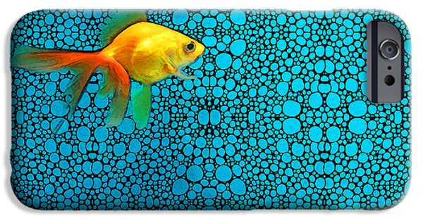 Fish Mixed Media iPhone Cases - Goldfish Study 3 - Stone Rockd Art By Sharon Cummings iPhone Case by Sharon Cummings
