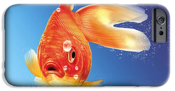 Airbrush iPhone Cases - Goldfish With Water Bubbles iPhone Case by Leonello Calvetti