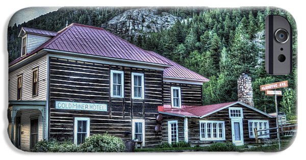 Cabin Window iPhone Cases - Goldminer Hotel iPhone Case by Juli Scalzi
