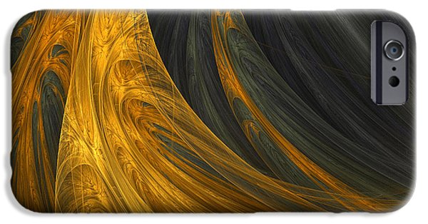 Gold Digital Art iPhone Cases - Golds Grace iPhone Case by Lourry Legarde