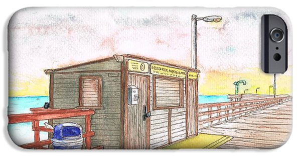 Nature Center Paintings iPhone Cases - Goleta Pier Angler Center - Goleta Beach - California iPhone Case by Carlos G Groppa