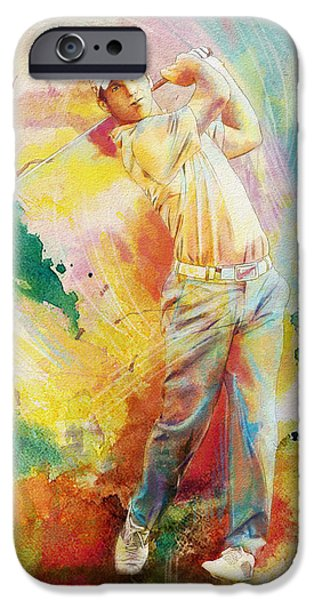 Tiger Woods iPhone Cases - Golf Action 01 iPhone Case by Catf
