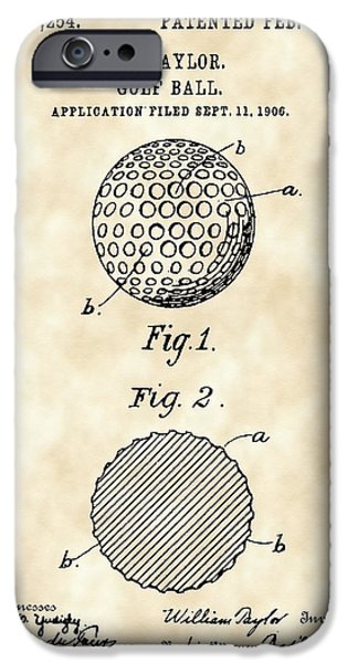 Professional Golf iPhone Cases - Golf Ball Patent 1906 - Parchment iPhone Case by Stephen Younts