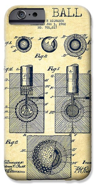Golf Course iPhone Cases - Golf Ball Patent Drawing From 1902 - Vintage iPhone Case by Aged Pixel