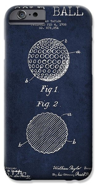 Golfer iPhone Cases - Golf Ball Patent Drawing From 1908 - Navy Blue iPhone Case by Aged Pixel