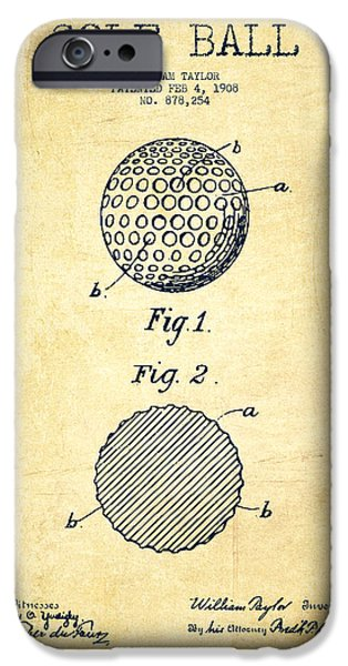 Golf Course iPhone Cases - Golf Ball Patent Drawing From 1908 - Vintage iPhone Case by Aged Pixel