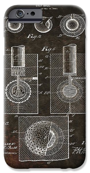 Professional Golf iPhone Cases - Golf Ball Patent On Leather iPhone Case by Dan Sproul
