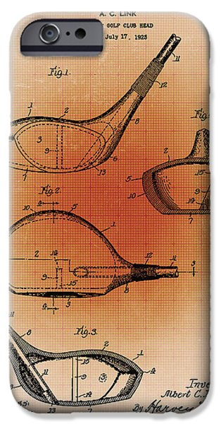 Sepia Chalk Mixed Media iPhone Cases - Golf Club Patent Blueprint Drawing Sepia iPhone Case by Tony Rubino