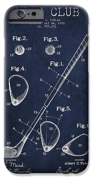 Golfer iPhone Cases - Golf Club Patent Drawing From 1910 iPhone Case by Aged Pixel