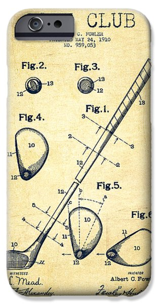 Play iPhone Cases - Golf Club Patent Drawing From 1910 - Vintage iPhone Case by Aged Pixel