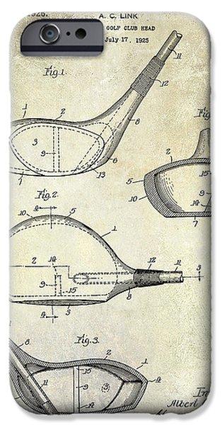 Golf Green iPhone Cases - 1926 Golf Club Patent Drawing iPhone Case by Jon Neidert