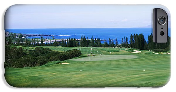 Hawaii Islands iPhone Cases - Golf Course At The Oceanside, Kapalua iPhone Case by Panoramic Images