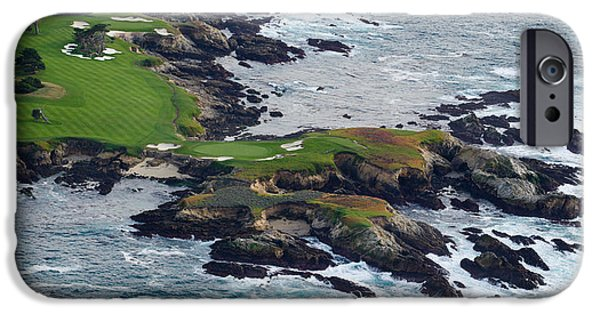 Urban Scenes iPhone Cases - Golf Course On An Island, Pebble Beach iPhone Case by Panoramic Images