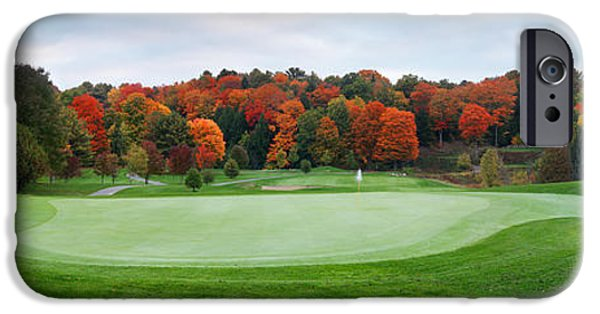 Golf Green iPhone Cases - Golf course panorama in fall iPhone Case by Oleksiy Maksymenko
