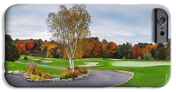 Golf Green iPhone Cases - Golf course panoramic fall scenery iPhone Case by Oleksiy Maksymenko
