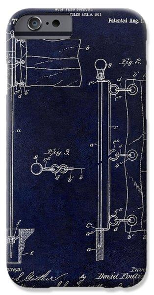 Golf Green iPhone Cases - 1913 Golf Flag Patent Blue iPhone Case by Jon Neidert