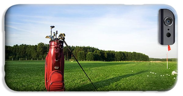 Professional Golf iPhone Cases - Golf gear on the golf field iPhone Case by Michal Bednarek