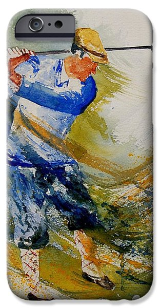 Golf Paintings iPhone Cases - Golf Player iPhone Case by Pol Ledent