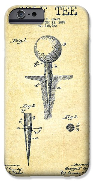 Golfer iPhone Cases - Golf Tee Patent Drawing From 1899 - Vintage iPhone Case by Aged Pixel