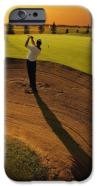 Golf Course iPhone Cases - Golfer Taking A Swing From A Golf Bunker iPhone Case by Darren Greenwood