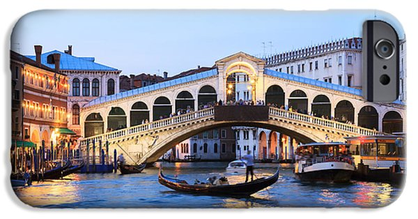 Citylife iPhone Cases - Gondola in front of Rialto bridge at dusk Venice Italy iPhone Case by Matteo Colombo