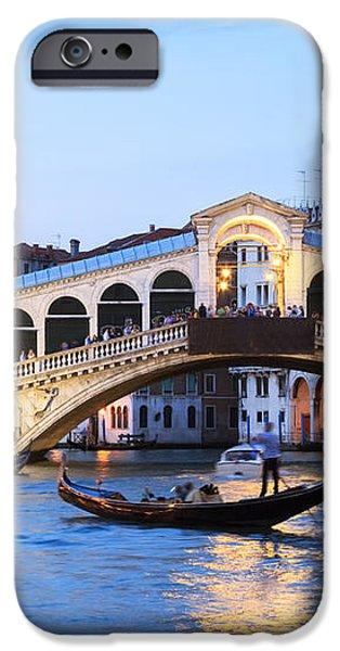 Gondola in front of Rialto bridge at dusk Venice Italy iPhone Case by Matteo Colombo