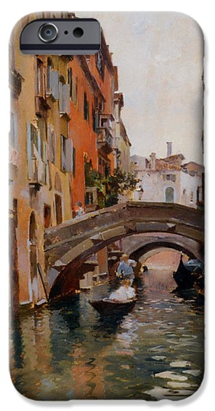 Venetian Canals iPhone Cases - Gondola On A Venetian Canal iPhone Case by Rubens Santoro