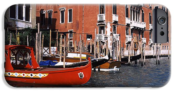 Built Structure iPhone Cases - Gondolas In A Canal, Grand Canal iPhone Case by Panoramic Images