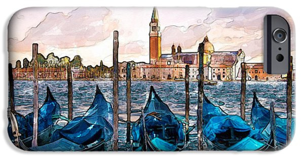 Europe Mixed Media iPhone Cases - Gondolas in Venice watercolor iPhone Case by Marian Voicu