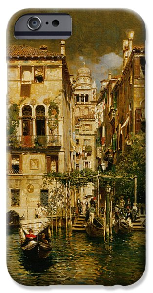 Rubens iPhone Cases - Gondolas Leaving A Residence On The Grand Canal Venice iPhone Case by Rubens Santoro