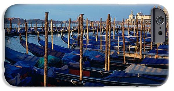 Santa iPhone Cases - Gondolas Moored At A Harbor, Santa iPhone Case by Panoramic Images