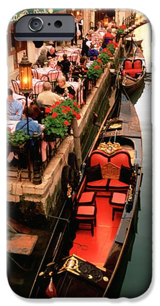 Mode Of Transport iPhone Cases - Gondolas Moored Outside Of A Cafe iPhone Case by Panoramic Images