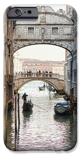 Waterway iPhone Cases - Gondolas Under Bridge of Sighs iPhone Case by Susan  Schmitz