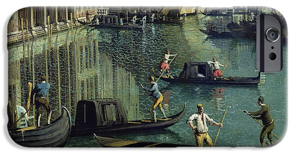 Venetian Canals iPhone Cases - Gondoliers Near The Rialto Bridge, Venice Oil On Canvas Detail Of 155335 iPhone Case by Canaletto