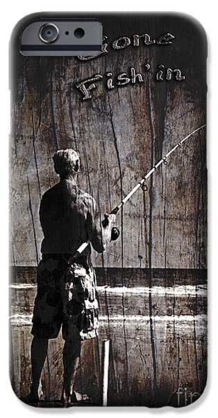 Water In Caves iPhone Cases - Gone Fishin Dark with Text Rustic Wood Border by John Stephens iPhone Case by John Stephens