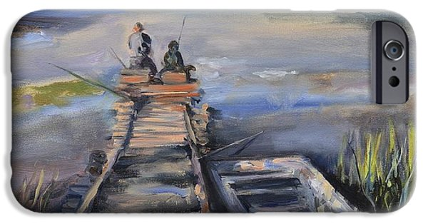 Young Paintings iPhone Cases - Gone Fishin iPhone Case by Donna Tuten
