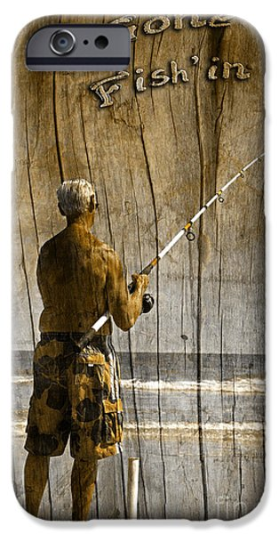 Water In Caves iPhone Cases - Gone Fishin Text Driftwood by John Stephens iPhone Case by John Stephens
